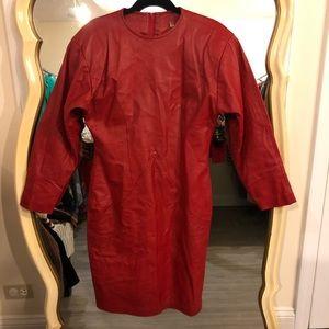 Vintage Dresses - Vintage Ambria Red Leather Dress